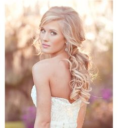 Bridal partial up-do.  With flower pin or clip.
