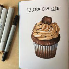 wanna some?:) #экстримскетчинг2 #kalachevaschool #sketch #sketchbook #sketching #leuchtturm1917 #leuchtturm1917ru #copic #copicmarkers #cake #cupcakes