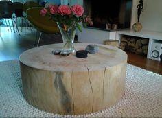 Mijn eigen salontafel, grote boomstam van rivahout.