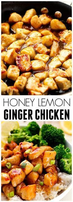 Honey Lemon Ginger Chicken I'm trying this for the first time but I used coconut oil, rice vinegar, and almond meal instead. Hopefully it comes out good ! & I added a pinch of cayenne pepper ! It was amazing! This is definitely a favorite and will Asian Recipes, New Recipes, Dinner Recipes, Cooking Recipes, Healthy Recipes, Recipies, Rice Recipes, Lentil Recipes, Spinach Recipes