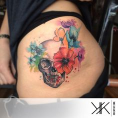 Watercolor Skull n Flowers by koraykaragozler on @DeviantArt