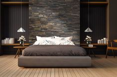 Rustic meets industrial in this masculine master bedroom with a Dark Reclaimed Wood wall representing the headboard. Wall Behind Bed, Bed Wall, Bedroom Wall, Bedroom Ideas, Reclaimed Wood Wall Panels, Wood Panel Walls, Masculine Master Bedroom, Modern Bedroom, Fitted Bedrooms