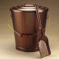 Round Copper Ash Bucket With Lid On Stand Fireplacemall