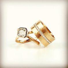 14k gold and diamond ring and cigar band