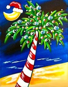 Diamond Painting Christmas Beach Coconut Trees and the Moon Paint with Diamonds Art Crystal Craft Decor Christmas Palm Tree, Tropical Christmas, Christmas Rock, Beach Christmas, Nautical Christmas, Xmas, Christmas Paintings On Canvas, Christmas Canvas, Christmas Projects