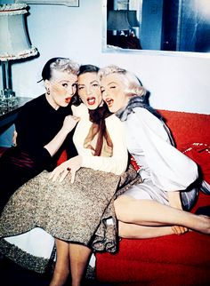"""Marilyn Monroe~Betty Grable, Lauren Bacall and Marilyn Monroe on the set of """"How to Marry a Millionaire"""", 1953."""