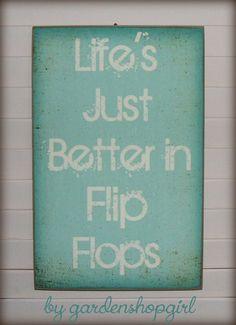 839ef752af9520 Distressed Wood Sign Life s Better in Flip Flops Summer Cottage Wall Decor  Beach House Ocean Primitive