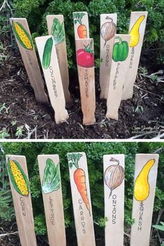 Hand Painted Garden Signs Plant Markers Handmade Garden Markers Plant Labels Vegetable Signs Gift for Gardener Mothers Day Gift Garden Labels, Plant Labels, Garden Types, Design Jardin, Vegetable Garden Design, Vegetable Garden Markers, Vegetable Gardening, Garden Plant Markers, Garden Signs
