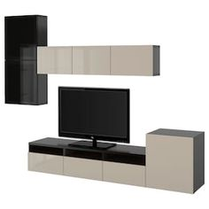 IKEA BESTÅ TV storage combination/glass doors Black-brown/selsviken high-gloss/beige clear glass cm The drawers and doors have integrated. Ikea Tv, Tv Storage Unit, Storage Spaces, Lp Storage, Record Storage, Tv Wand, Frame Shelf, Tv Furniture, Lineup