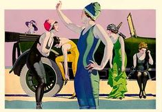 C. Coles Phillips- An absolutely revolutionary image for it's time- 1917- the casual insouciance of ladies undressing in public and winding up in one piece vividly shaded body-hugging bathing attire is a harbinger of the changes on the horizon.