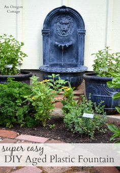 Planning your spring garden? Make an Easy DIY Aged Plastic Fountain the focal point! http://anoregoncottage.com/diy-aged-fountain-how-to-age-faux-stone/