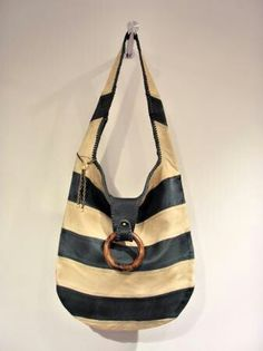 striped lether bag