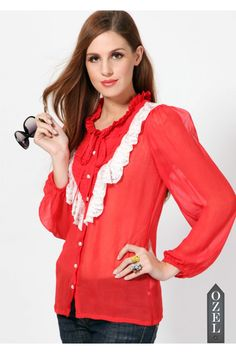 Vintage Shirt with Lace Adornment by Ozel Studio - OZEL STUDIO - BRANDS
