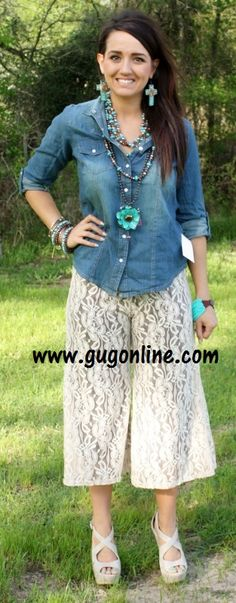 Oh My Heavens Ivory and Brown Lace Capri Pants www.gugonline.com $39.95