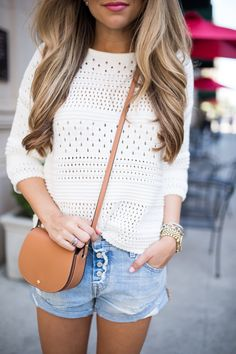 Shop the look: white crochet sweater with round neck, light blue jeans shorts, beige leather shoulder bag, gold watch for women Stylish Summer Outfits, Spring Outfits, Casual Outfits, Cute Outfits, White Top Outfit Summer, Stylish Clothes, Classy Outfits, Spring Summer Fashion, Autumn Fashion