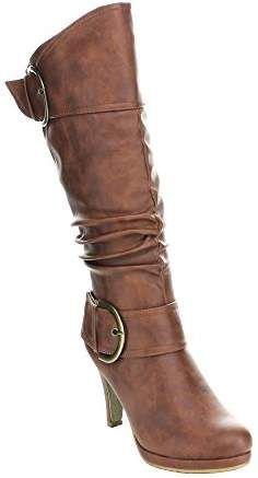 d83e82c1dc1 Top Moda Womens Page-22 Knee High Round Toe Buckle Slouched Low Heel Boots