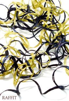 Raffia 2-Color Black & Antique Gold Shimmer Combination Pearl Finish Hand-Dyed Color On Vintage Spools Made in USA