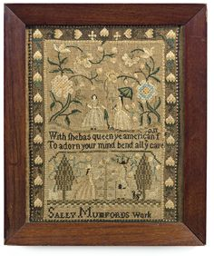 Sally Mumford - Mary Balch's School - Providence, Rhode Island - circa 1810. Silk on linen. Betty Ring collection. Sold for 17,500 USD