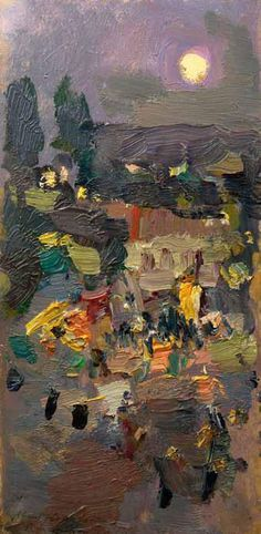 Simferopol. Night, 1916, Konstantin Korovin. Russian (1861 - 1939). Love the brushwork and the colors Russian Painting, Russian Art, Landscape Art, Landscape Paintings, Oil Paintings, Great Artists, Nocturne, Art Paysage, Love Art
