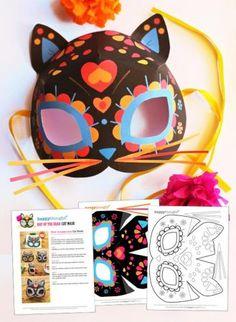 Dia de los Muertos flowers cat mask printable template