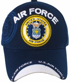 US Air Force Baseball Cap Blue Premium Embroidered Military New Logo Emblem  Hat 9283878b3f48