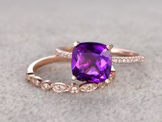8X8mm Cushion Amethyst Wedding Set Diamond Bridal Ring 14k Rose Gold Unique Prong Marquise Matching Band - BBBGEM