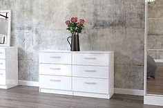 Birlea lynx high gloss all white 6 drawer midi #chest  #bedroom #furniture new,  View more on the LINK: 	http://www.zeppy.io/product/gb/2/291258204758/