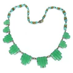 Vintage 1930's Art Deco Green Stepped Glass Bead Necklace