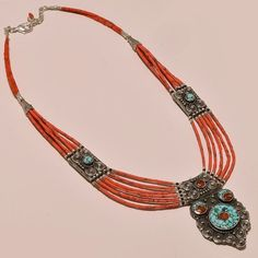925 STERLING SILVER ANTIQUE TURQUOISE & RED CORAL TIBETAN NECKLACE #Handmade #Choker