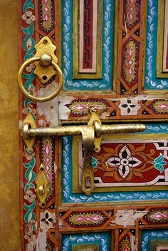 Painted Wooden Door in the Old City of Fez, Morocco.