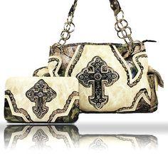 61468641ff Womens western Handbag   Wallet set CAMO cross beige white cowgirl  rhinestone  jyTrade  ShoulderBag