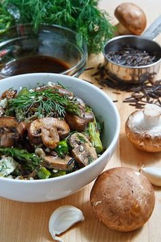 Mushroom and wild rice salad with roasted asparagus and feta