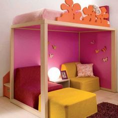 What a great bed and reading nook for a little girl!!