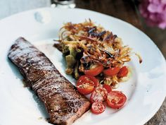 Grilled Skirt Steak with Rösti Potatoes   One of Francis Mallmann's favorite ways to eat steak is to season it with salt and pepper, throw it on the grill, and serve it with crispy potato cak...