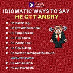 "Other ways to say ""He got angry"""