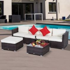 Looking for Barnett 6 Piece Rattan Sectional Seating Group Cushions ? Check out our picks for the Barnett 6 Piece Rattan Sectional Seating Group Cushions from the popular stores - all in one. Sectional Furniture, Patio Furniture Sets, Sectional Sofa, Furniture Ideas, Furniture Layout, Furniture Design, Asian Furniture, Seat Cushions