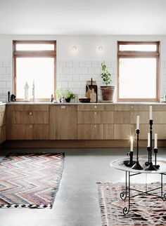 Great II Decordots: Wooden Kitchen Cabinets And Concrete Floor II Nice Look