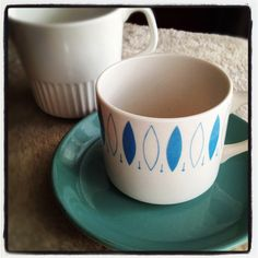 Crown Lynn - Blue Tango cup & saucer, milk jug Blue Tango, Milk Jug, The Dish, Cup And Saucer, Tea Cups, Ceramics, Dishes, Mugs, Tableware
