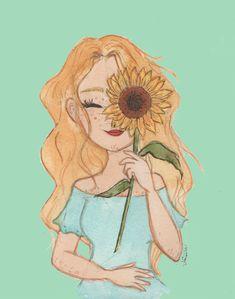 menina e girassol =) #sunflower #illustration #ilustração #aquarela #watercolor #girassol #sunflower #sunflowers #girlandflowers #drawing #brart #artgram #menina #desenho #ilustra #girassois #fairy #blossom #florescer