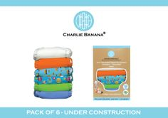 """Charlie Banana new pack of 6 - 'Under Construction"""""""