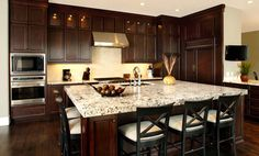 Kitchen Colors with Dark Cabinets  Island as a kitchen table