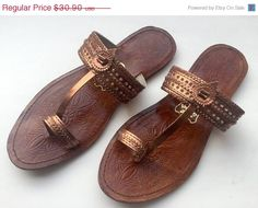 d4f9e879531e8 15% SUMMER SALE Copper Kolhapuri Chappals Shoes for by footsoles24 Brown Flip  Flops