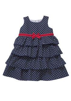 F Spot Print Tiered Dress