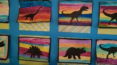 Dinosaur silhouettes by my 2nd graders.