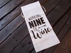 Working Nine to Wine, Secret Santa Gift, Wine Bottle Bag, Co-Worker Gift, Drawstring Wine Gift Bag by LadyInPurpleJewelry on Etsy                                                                                                                                                                                 More