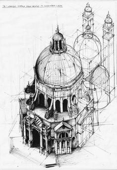 baroque Architecture Drawing Sketchbooks, Architecture Concept Drawings, Baroque Architecture, Historical Architecture, Architecture Design, Art Manga, Building Sketch, Perspective Drawing, A Level Art