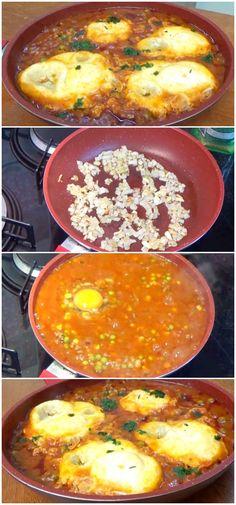 Essa deliciosa receita de Ovos no Inferno vai te deixar com água na boca! #receita #gastronomia #culinaria #comida #delicia #receitafacil #cozinha #acompanhamento #ovosnoinferno #ovos #ovosdeliciosos