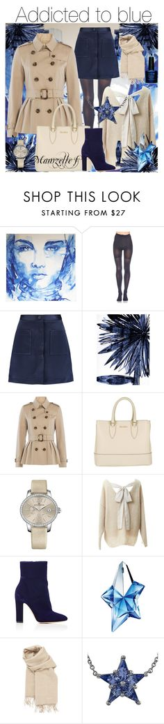 """Addicted to blue"" by mamzelle-f ❤ liked on Polyvore featuring SPANX, ADAM, Leftbank Art, Burberry, MaxMara, Girard-Perregaux, Relaxfeel, Gianvito Rossi, Thierry Mugler and Hermès"