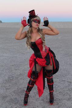 Burlesque HARLEY QUINN COSTUME Overbust Corset by VivaWonderWoman on Etsy https://www.etsy.com/listing/210133940/burlesque-harley-quinn-costume-overbust