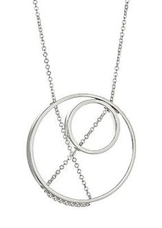 Fine chain glides freely through precisely drilled holes of a hand fabricated sterling silver circle creating an abstract pattern that is at once fixed and fluid. As shown outside circle measures Ceramic Jewelry, Metal Jewelry, Silver Necklaces, Sterling Silver Jewelry, Cleaning Silver Jewelry, Jewelry Design, Jewelry Accessories, Celtic Wedding Rings, Geometric Necklace